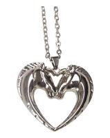 Collier pendentif acier double tête de cheval formant un coeur.