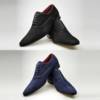 Mens New Black Navy Suede Leather Smart Office Lace Up Shoes 6 7 8 9 10 11