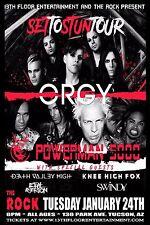 "ORGY ""SET TO STUN TOUR"" 2017 TUCSON CONCERT POSTER - Industrial/Hard Rock Music"