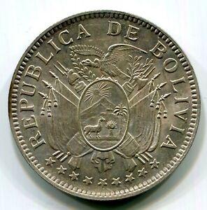 Bolivia - 1909H 50c KM#177 in Choice BU