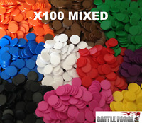 22mm Plastic Board Game Counters Tiddly winks Numeracy Teaching - 100 Mixed