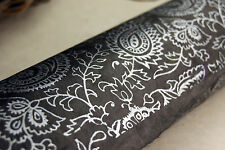 """Handmade Paper 20"""" x 30""""  Silver on Brown Paisley set of 3 Floral Print"""