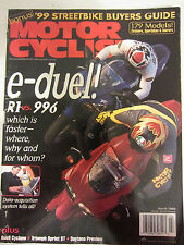 Motorcyclist Magazine March 1999 e-duel R1 vs 996 which is faster? Buell Cyclone