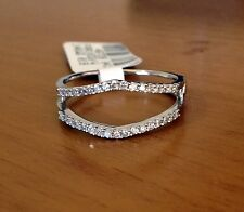 White Gold Wedding Band Size 8 Solitaire Enhancer Diamonds Ring Guard Wrap 14k