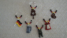 """GERMANY/,GERMAN"" SET OF 6 HAND CRAFTED Wine Glass Charms"