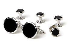 NEW Mens Silver Black Genuine Onyx Classic Round Cuff Links & Studs Gift Box Set