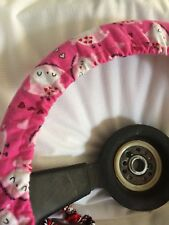 Pink Owls And Hearts Background Steering Wheel Cover