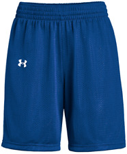 New Under Armour Triple Double Basketball Short Women's L Royal Blue White $15
