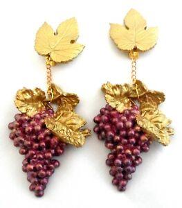 Huge Grape Bunch Earrings Shoulder Duster Runway Dangle Wine Lover Statement