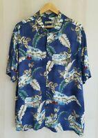Batik Bay Men's  XXL Hawaiian Tropical Casual Easy Care Button Up Shirt Blue