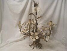 vintage ornate metal flower chandelier electric hanging 5 light lamp floral *