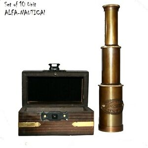"maritime brass 6"" telescope with wooden box Set of 10 Unit telescope spyglass"