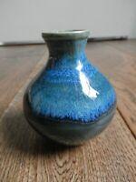 "Vintage Studio Art Pottery 3 1/4"" Vase Blue Green Drip Signed ""WM-"""
