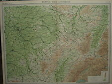1920 LARGE MAP ~ FRANCE NORTH-EASTERN SECTION TROYES REIMS PARIS NANCY
