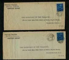 2 American Consulate frontsw/Austria JAFFA SYRIA (1913) & JAFFA PALESTINE (1914)