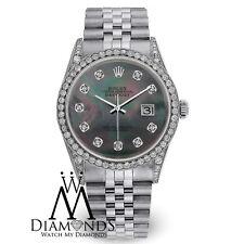 Men's Rolex Datejust Jubilee Stainless Steel Black MOP Dial 36mm Diamond Watch