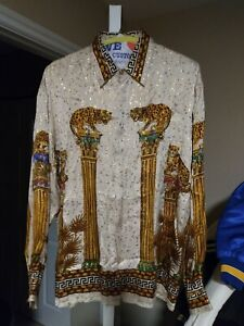 Vintage 90s Sentarser Royalty Baroque Classic Gold Chain Luxury Buttondown Shirt Size M