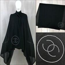 RARE Chanel Black LUREX Shimmer Cashmere Silk CC LOGO XL Large Scarf Shawl Stole