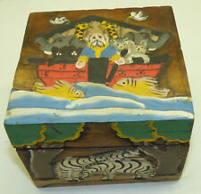 """Vtg Relief Carved Wood Hand Painted Noahs Ark & Animals 6"""" Square Box Unusual"""