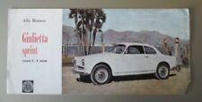 ALFA ROMEO GIULIETTA SPRINT COUPE 2+2 orig 1957 UK Mkt Sales Brochure in English