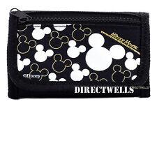 Disney Mickey Mouse Wallet Tri Fold Kids Licensed - Black Silver