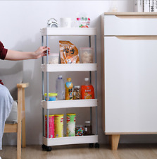 4Layers 360° Wheels Rolling Storage Cart Shelf Rack Kitchen Room Drain Organizer