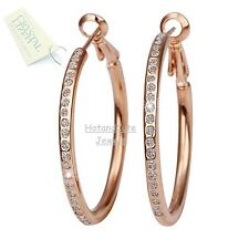 Hot 18K White Rose GOLD Plated GP Circle Hoops Swarovski Crystal Earrings NWT