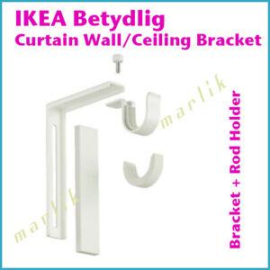IKEA BETYDLIG Curtain Wall Ceiling Bracket Rod Holder 302.198.89 White NEW
