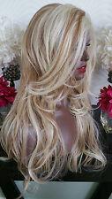 Beautiful Platinum Blonde/ Auburn Mix Lace Front Wig Long Wavy Heat Safe