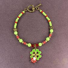 CLOVERBUG CHARM BRACELET Ladybug 4-Leaf Clover Heart Magic Double Luck Love Gold