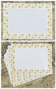 WILLIAMS SONOMA Platemats (Set of 6)White Cotton Embroidered Yellow Brown Leaves