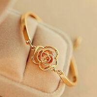 Eg _ Damen Blume Kristall Rose Armreif Manschette Kette Armband Chic Schmuck