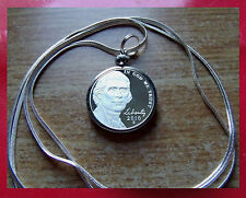 """2010 American Thomas Jefferson Proof Nickel Coin on a 30"""" 925 Silver Snake Chain"""
