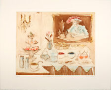 HELEN FRANK - Breakfast In Padava -   Hand Signed Original Color Etching