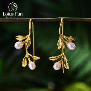 Freshwater Pearl Waterdrops Leaves 18K Gold Earrings 925 Silver Women Jewelry