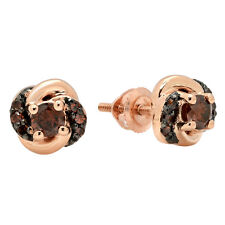 0.45 CT 14K Rose Gold Round Champagne Diamond Ladies Orbit Frame Stud Earrings