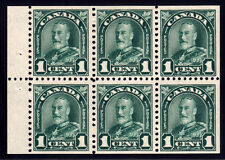 Canada #163c - King George V Arch/Leaf, 1 cent Green, Booklet Pane of 6, 1931