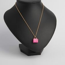 KATE SPADE 12K Gold Plated Maise Handbag Pendant Necklace Vivid Snapdragon Pink