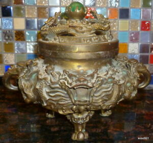 Vintage Antique Reproduction Brass Dragon Ceremonial Incense Burner