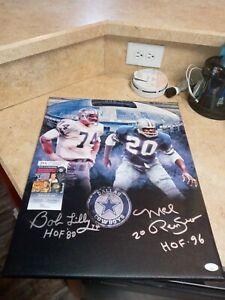 Bob Lilly Mel Renfro Dallas Cowboys Signed 16x20 HOF Custom Canvas JSA LL60841