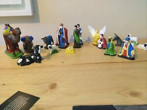 Vintage Hand Made Painted Christmas Nativity Set Signed 1972 18 Pieces