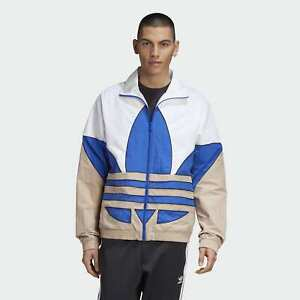 adidas Originals Big Trefoil Woven Track Jacket Men's White Blue Khaki Outwear