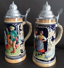 Two Vintage (1960s) German Marzi & Remy Ceramic Beer Steins In Perfect Condition