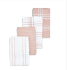 Primark Peach Terry Tea Towels Pack Of 4 Pink & White 100% Cotton