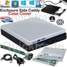 External USB 2.0 SATA Enclosure Caddy Case Cover CD DVD Rom RW Drive PC Laptop