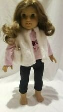 Doll Outfit Fuzzy vest, pink shirt, and black leggings outfit in