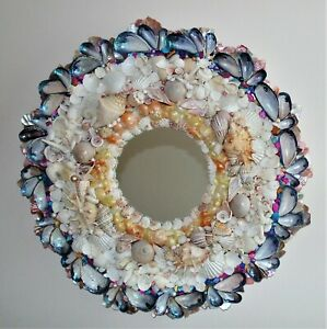 Natural Sea Shell Encrusted Wall Mirror One-of-a-Kind
