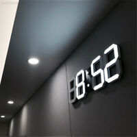 Modern Digital 3D LED Wall Clock Alarm Clock Snooze 12/24Hour Display Home Decor