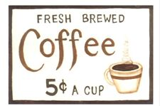 COFFEE 5 Wood Country Kitchen retro Primitive Wooden Wall Decor Sign Plaque 6x4""