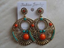 Boucles d'oreilles bobo bohème chic ethnique orange turquoise or ladydjou 3